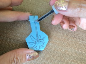 Création tampon : Vous pouvez retirer la gomme au fur et à mesure ou à la fin de cette opération.