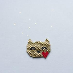 Chat coeur brick stitch miyuki