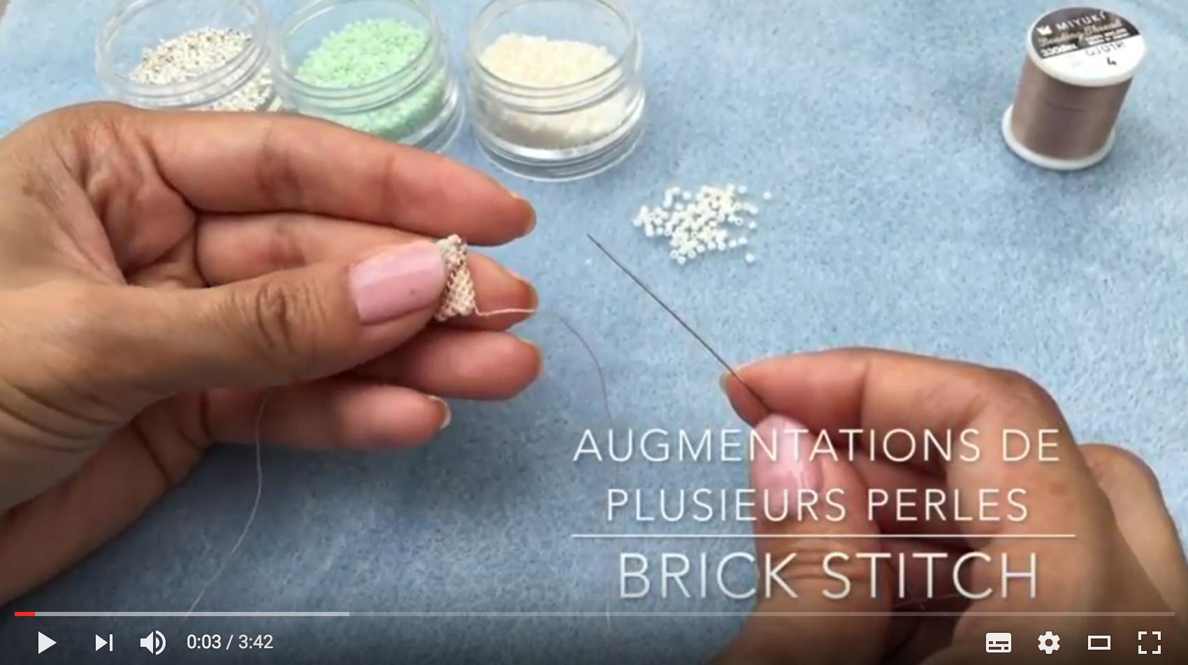 Tuto vidéo – Augmentation de plusieurs perles et diminution invisible en brick stitch